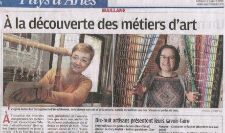 """Tapissier d'ameublement Arles journal """"La Provence"""" : """"À la découverte des métiers d'art"""""""