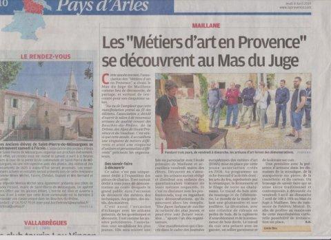 Article dans le journal La Provence jeudi 4 avril 2019