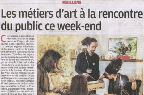 """Tapissier d'ameublement Arles journal """"La Provence"""" : """"Les métiers d'art à la rencontre du public ce week-end""""."""